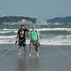 Kamakura, Guerin Harris and Jeff Cox enjoy the beach (Cincinnati is a long way from the ocean!)