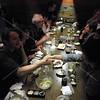 Tokyo, Watami Izakaya Restaurant, Brad Keith and Satoshi Sumikawa cement their new friendship with a handshake.