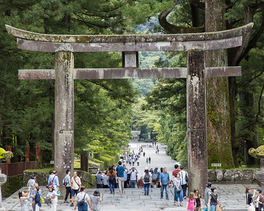 Stone Torii Gate at the entrance to the Nikko Tōshō-gū shrine