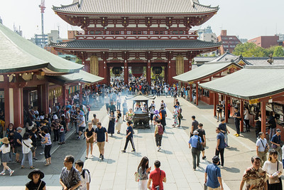 Sensō-ji, an ancient Buddhist temple located in Asakusa, Tokyo, Japan. It is Tokyo's oldest temple, with origins dating to 645 AD