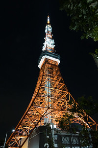 Tokyo Tower, a communications and observation tower.  At 1,092 ft, it is the second-tallest structure in Japan. The structure is an Eiffel Tower-inspired lattice tower that is painted white and international orange to comply with air safety regulations.