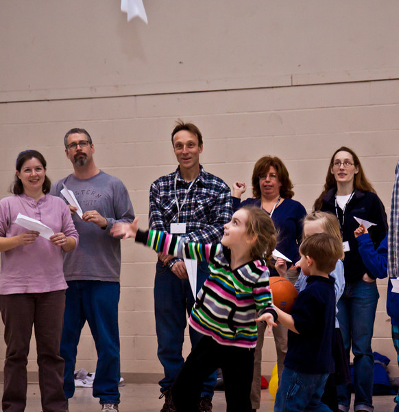Family Challenge game 3.  Paper airplane distance competition.