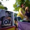 6/24/16 LEOMINSTER with story-  A photo of Jeff Rodriguez,  a Leominster native and victim of the Orlando shootings, sit's on the raffle table on Friday at Carter Park in Leominster.  Sentinel & Enterprise photo/Jeff Porter