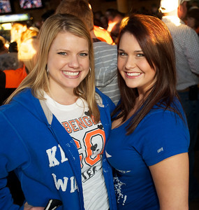 Amy Maschmeyer and Maggie Zerhusen of NKY at Jerzees for the Bengals game Saturday