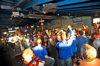 Fans cheer the Bengals on at Jerzees for the Bengals game Saturday