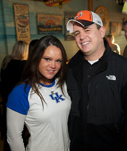 Jessica Edwards of Erlanger and Kyle Houser of Fairfield at Jerzees for the Bengals game Saturday