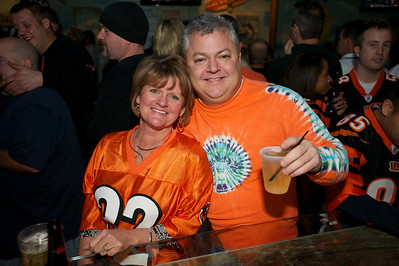 Mary Beth Sheridan of NKY and John Withrow of Cincinnati at Jerzees for the Bengals game Saturday