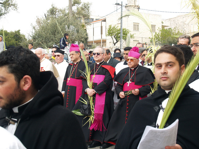 Michel Sabbah, Latin Patriarch and Archbishop of Jerusalem (rightmost figure with cap)