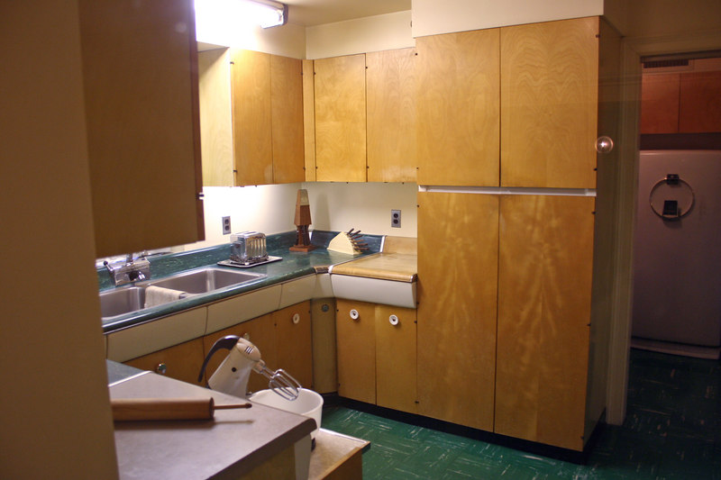 Kitchen - Crosley refrigerator and linoleum counter reflect the 1950's style more than any room in the house.  Not many gourmet dishes were prepared here as Ike and Mamie preferred basic American fare.