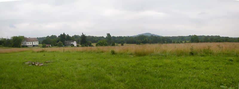 Panorama of Big Round Top from Unions right flank on South Calvary Field.