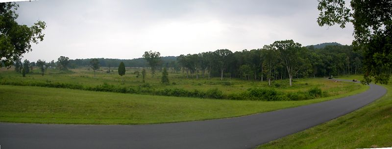 Panorama view of in direction of Round Tops,  Notice Park Sevice's work in clearing trees.