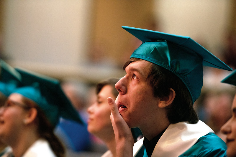 Matthew Gaston | The Sheridan Press<br>William Brown gets choked up during his portion of the slide show during the John C. Schiffer School commencement ceremony at Sheridan College Saturday, May 25, 2019.