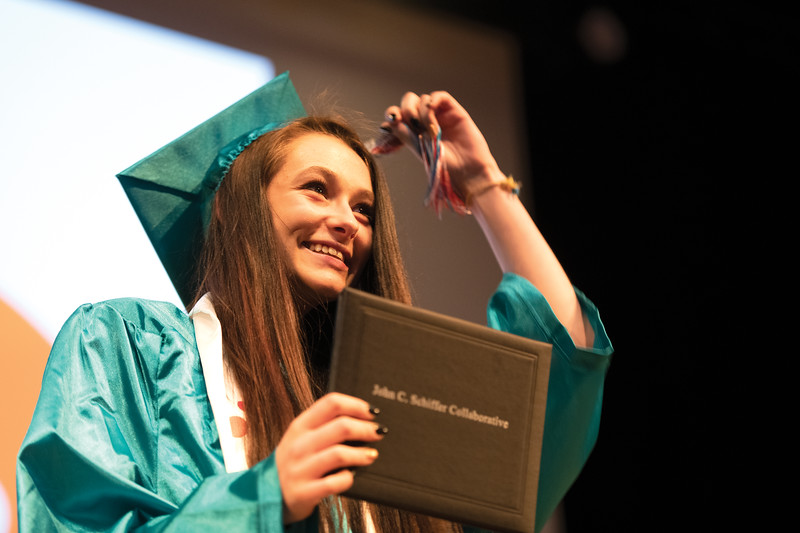 Matthew Gaston | The Sheridan Press<br>Sharon Weight moves her tassel from right to left after receiving her diploma from the John C. Schiffer School at Kinnison Hall on the Sheridan College campus Saturday, May 25, 2019.