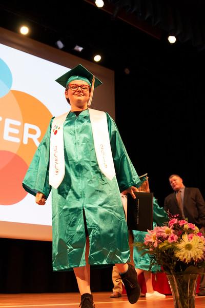 Matthew Gaston | The Sheridan Press<br>John C. Schiffer Collaborative School class of 2019 graduate Andi Edwards kicks her heel up Saturday, May 25, 2019.