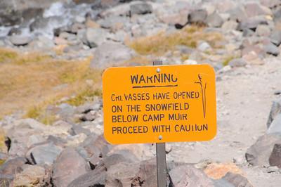 Closeup of the sign at Pebble creek.