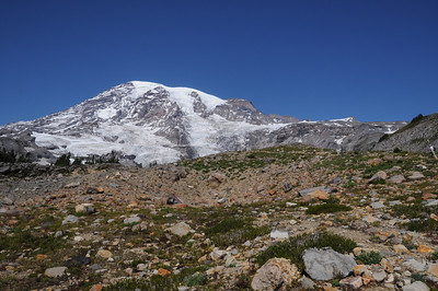 Mt Rainier up close and personal. Camp Muir is located at the second bump from the right along the snow covered ridge. The first, more prominent bump is Anvil Rock, about 600ft below Muir.