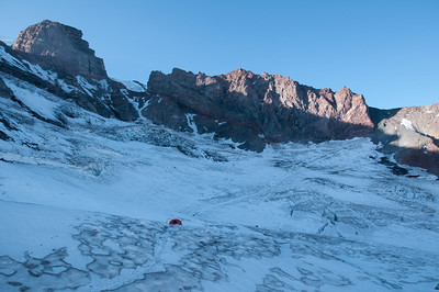 The trail across the glacier heading up the mountain.