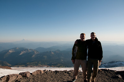 Another summit pose. That's Mt. Adams in the background on the left.