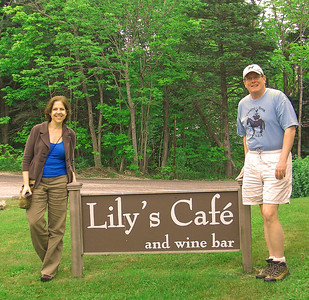 Carole and John outside Lily's Cafe, Stonington, Maine