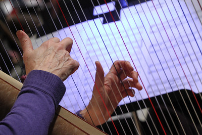 The hands of Nella Rigell make beautiful music on the harp.