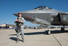 An Airman guarding the F-35.