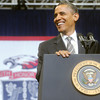 Globe/Roger Nomer<br /> President Barack Obama addresses the 2012 Joplin High School class at graduation on Monday.