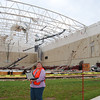 Amy assessing Joplin Middle School gymnasium.