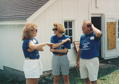 Mary Ellen, Susan & Dave - Striped shorts were in vogue!