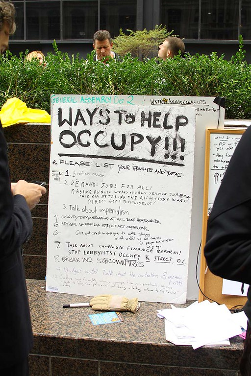 "The diversity of the Occupy Wall Street resistant movement is reminiscent of the 1963 March on Washington. The one of the goals of Occupy Wall Street is to combat corporate greed and corruption that has lead to the downturn of the United States economy. One of their slogans is, ""We are the 99% that will no longer tolerate the greed and corruption of the 1%""."