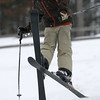 Record-Eagle/Garret Leiva<br /> William Beattie, 9, of Traverse City, puts air between the slope and his skis at the Jr. Air Affair skills clinic and competition Saturday at Mt. Holiday.