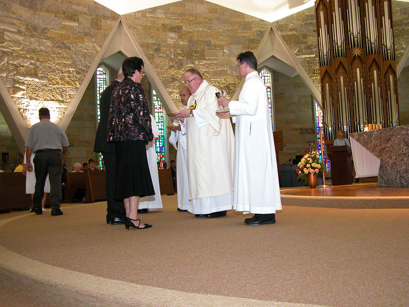 The last of the gifts are presented at offertory.