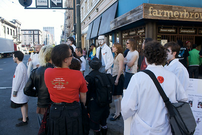 Juggalo scientists waiting to pass the street