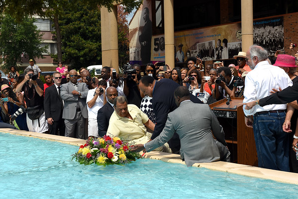 "A gathering of Julian Bond's friends and admirers meet at the reflecting pool of the MLK Center precisely at 3:00pm"" to participate symbolically in the sharing of Julian's ashes with the sea."
