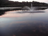 Fountain in a lake during sunset
