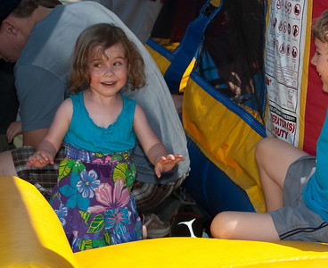 The bounce house was enjoyed by those of a certain age.