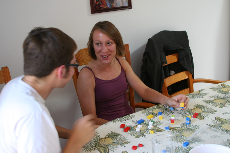 Brian and Ellen working on the Lego puzzle.