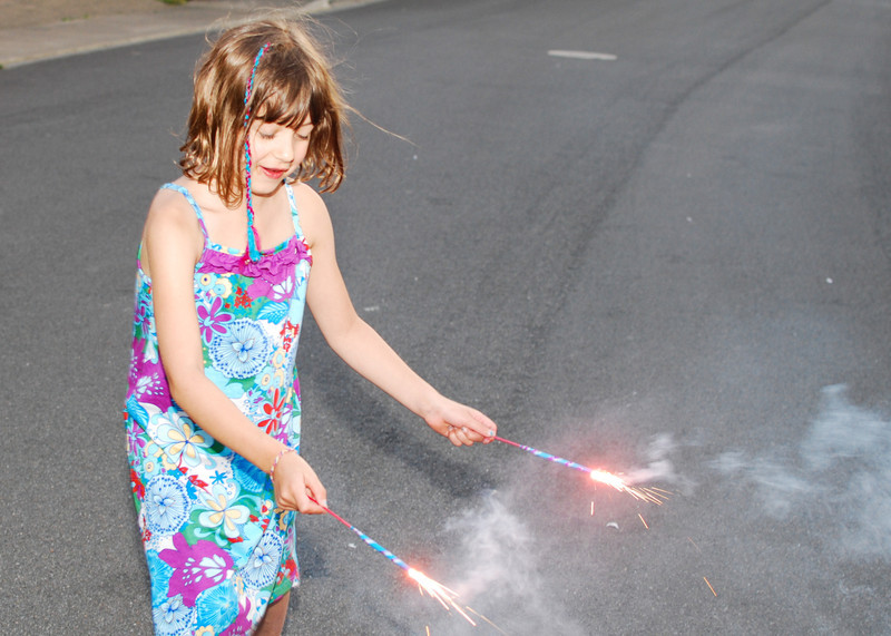 Audrey with sparklers