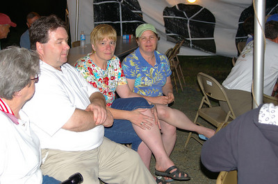 IMGP4065a: Friday, June 1st, 2007:  Schuylkill Haven Mayor, Gary Hess, Gloria Ebling & Sandy Hess enjoy listening to KISS THE SKY during the Pre-Sojourn events.