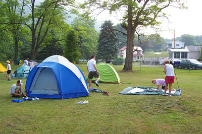 IMGP6603: Saturday, June 2nd, 2007: Paddlers set up camp in Port Clinton for their overnight stay.  They were treated to a spaghetti dinner by the Port Clinton Fire Company.
