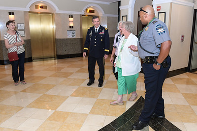 Pauline Conner, the spouse of U.S. Army 1st Lt. Garlin M. Conner, arrives at the Sheraton Pentagon City Hotel in Arlington, Va., June 24, 2018. Conner will be posthumously awarded the Medal of Honor June 26, 2018, for actions while serving as an intelligence officer with Headquarters and Headquarters Company, 3rd Battalion, 7th Infantry Division, during World War II on Jan. 24, 1945.  (U.S. Army photo by Spc. Anna Pol)