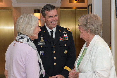 U.S. Army Lt. Gen. Thomas Seamands and his wife, Melissa Seamands, greet Pauline Conner, the spouse of U.S. Army 1st Lt. Garlin M. Conner, arrives at the Sheraton Pentagon City Hotel in Arlington, Va., June 24, 2018. Conner will be posthumously awarded the Medal of Honor June 26, 2018, for actions while serving as an intelligence officer with Headquarters and Headquarters Company, 3rd Battalion, 7th Infantry Division, during World War II on Jan. 24, 1945.  (U.S. Army photo by Spc. Anna Pol)