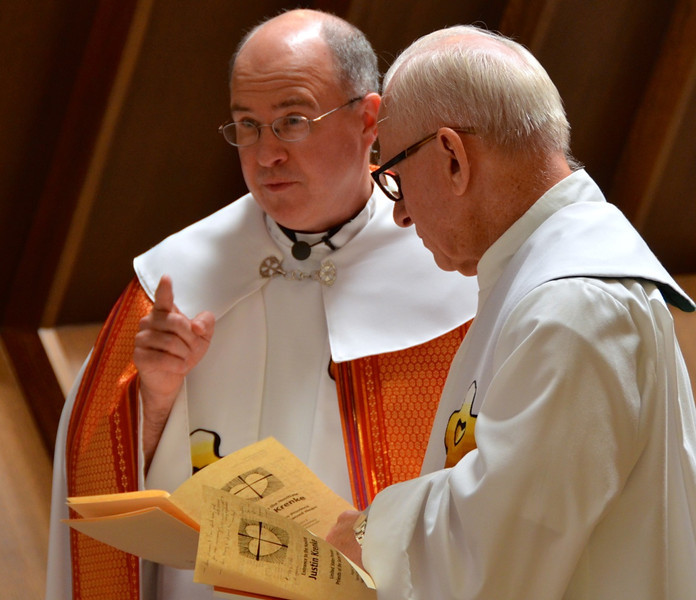 Fr. Stephen Huffstetter and Fr. John Czyzynski, novice master, before Adoration
