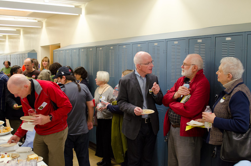 Donors, volunteers and staff in refreshment area. KALW Donor Event, KALW studios, 500 Mansell St., San Francisco, California.