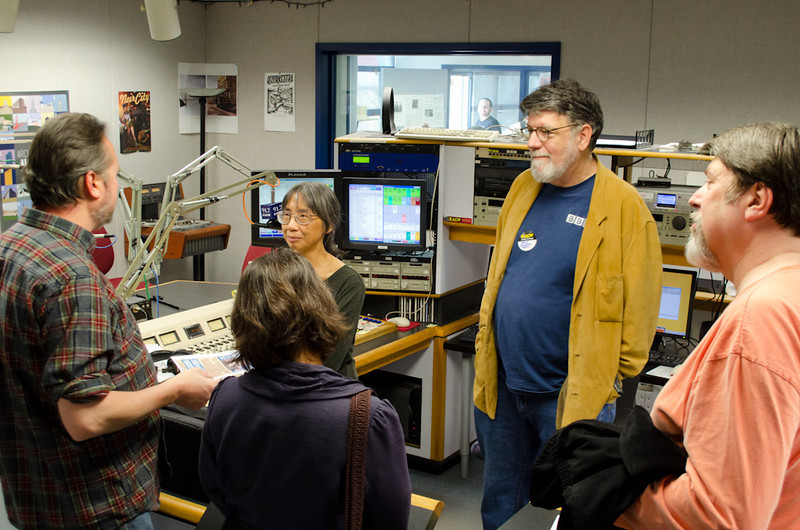 JoAnne Mar with donors in Studio A. KALW Donor Event, KALW studios, 500 Mansell St., San Francisco, California.