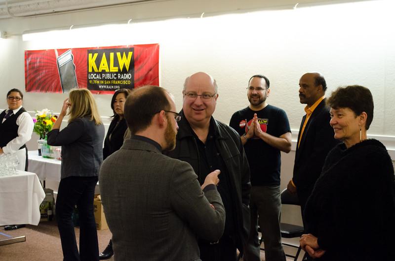 Roman Mars talks with donors. KALW Ira Glass donor  reception. Kanbar Performing Arts Center, 44 Page St., San Francisco, California.