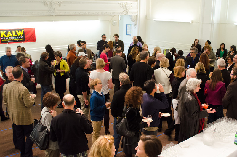 Reception room with donors and Ira Glass. KALW Ira Glass donor  reception. Kanbar Performing Arts Center, 44 Page St., San Francisco, California.