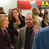 Holly Kernan and Roman Mars speaking with donors. KALW Ira Glass donor  reception. Kanbar Performing Arts Center, 44 Page St., San Francisco, California.