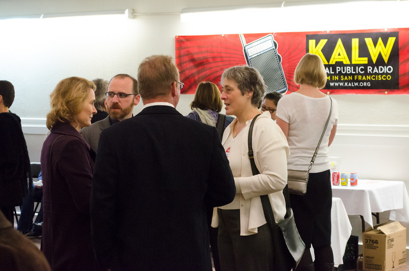 Holly Kernan, Roman Mars and Annette Bistrup. KALW Ira Glass donor reception. Kanbar Performing Arts Center, 44 Page St., San Francisco, California.