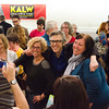 Ira Glass with two KALW donors during photo op. KALW Ira Glass donor  reception. Kanbar Performing Arts Center, 44 Page St., San Francisco, California.