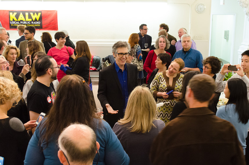 Ira Glass with group of donors. KALW Ira Glass donor  reception. Kanbar Performing Arts Center, 44 Page St., San Francisco, California.